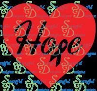 Hope in hearts w/ ribbon